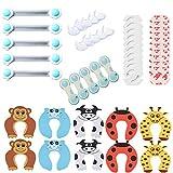Z-Chen Kit de 50 Piezas Seguridada para Bebés - 20 Cubiertas para Enchufes + 10 Protectores de Esquinas + 10 Protección para Puertas + 10 Cierres de seguridad para Armarios Cajones (EU Estándar)