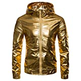 Luckycat Männer Luxus Gold Herbst Casual Hip Hop Langarm Leder Kapuzenmantel Jacke Top Mode 2018