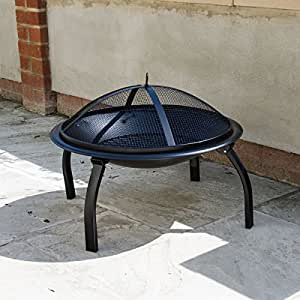 Round fire pit lid outdoor garden patio and camping log for Amazon prime fire pit