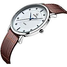 WWOOR Para los hombres Ultra Plano Reloj analógico de Acero Inoxidable de pulsera de cuero Resistente a Arañazos y al agua del color blanco con pulsera marrón
