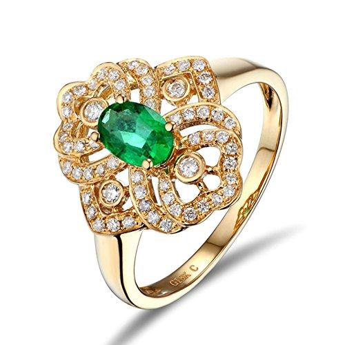 AieniD Gioielli Oro Giallo Verde Anello Per Donne Piazza Nozze Anello Peso:3G Size:9