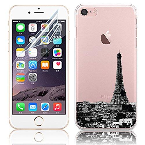 """Coque iPhone 7 Plus 5.5"""" Ultra-Mince Silicone TPU Gel Transparent Souple Etui Housse Sunroyal® Apple iPhone 7 Plus (5.5 Pouces) Case de Protection Spécial Back Cover Anti-Choc Bumper - Fleur Violet A-02"""