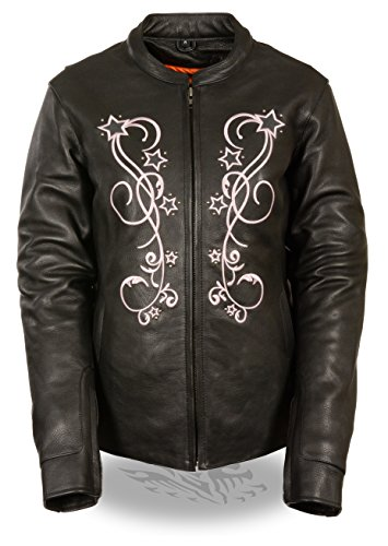 Milwaukee Leather Ladies Reflective Star Jacket w/ Stud Detailing & Embroidery - Purple, Pink & Black Versions (4X - Big, Pink Detailing) (Womens Star Big)