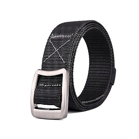 MIJIU Womens Canvas Belt Army Unisex Nylon Fabric Webbing Outdoor Tactical Waist Strap-Black