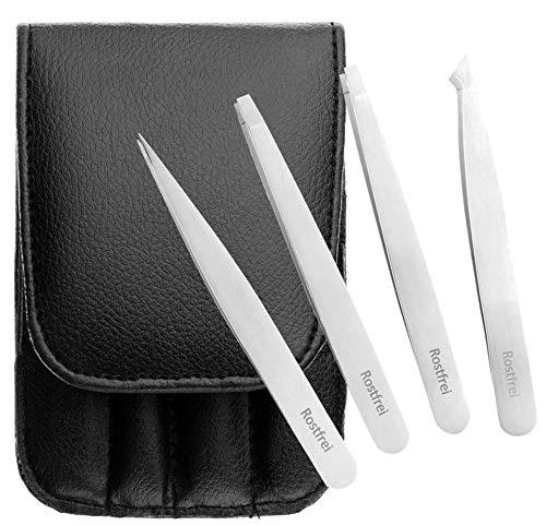 Schwertkrone Pinzetten Augenbrauen zupfen 4 Stück Set Splitterpinzette