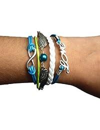 Infinity Bijoux - Pulsera infinito love, alas de ángel y perla / eternidad / one direction - azul / plata