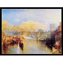 Joseph William Turner Póster Impresión Artística con Marco (Madera DM) Negro - Roma Antigua, Agripina Desembarcando Con Las Cenizas De Gérmanico, 1839 (80 x 60cm)