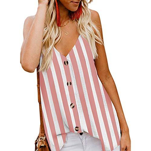 FRAUIT Camisa Sin Mangas Botones Moda Blusa Mujer