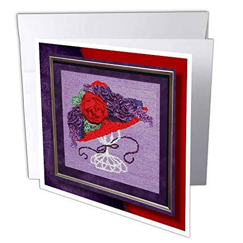 """3dRose gc_25852_1 Grußkarte""""Red Hat Stickerei"""", 15 x 15 cm, 6 Stück"""