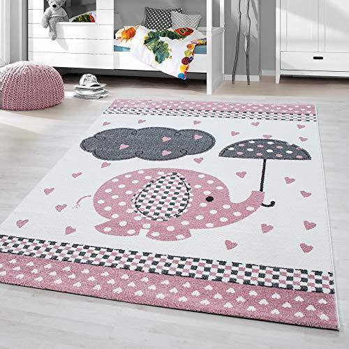 HomebyHome Kinderteppich Kurzflor Elephant Kinderzimmer Babyzimmer Grau Pink Meliert, Größe:80x150 cm - Elefanten-rechteckiger Teppich