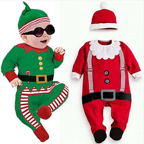 Moppi 2pcs Kleinkind Baby Mädchen Kinder Weihnachten Outfits Strampler Hut von Santa Set
