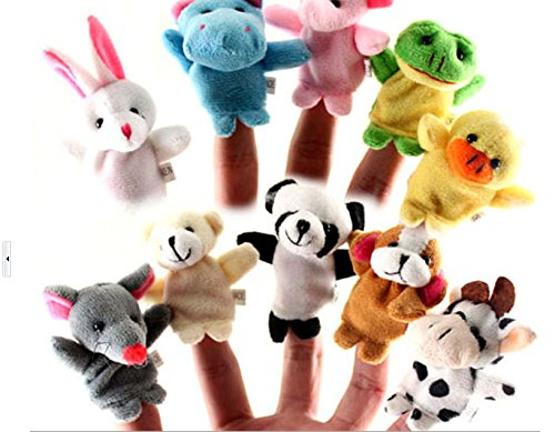 A2S Furry Finger Dolls, Mini Cute Cartoon Biological Animal Finger Puppet Soft Plush Toys