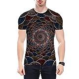 AIWOSUOAI T-Shirt in Fibra di Poliestere Estate Uomo Manica Corta Vorte x 3D Stampa Digitale Palla Swirl T Shirt per Adulti M