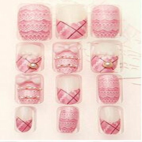 Evtech(tm) 24 PC Nail Stickers Bling Bling demi artificielle Rose Belle Dentelle bowknot diamant strass Crystal Pearl français faux ongles Nail Art luxe Conseils Transparence Fashion Style Glitters Nail Art Outil