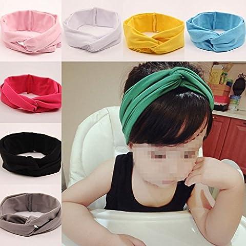 Lucky Will 7 pcs Cute Cruz algodón diadema hairband tocado pelo banda headwear lazos para el pelo Clips de pelo para bebés niñas