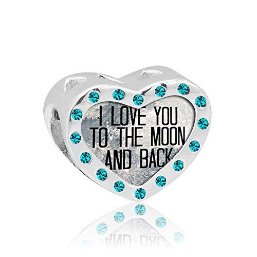 """Pugster Charm-Anhänger, Sterling-Silber 925, Herz mit \""""I Love You To The Moon And Back\""""-Kristallen, Geburtsstein für den Verkauf Pandora Charms-Armband"""
