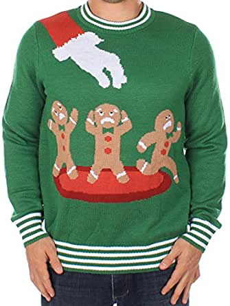 tipsy elves h sslicher weihnachtspullover lebkuchen alptraum pullover gr n large amazon. Black Bedroom Furniture Sets. Home Design Ideas