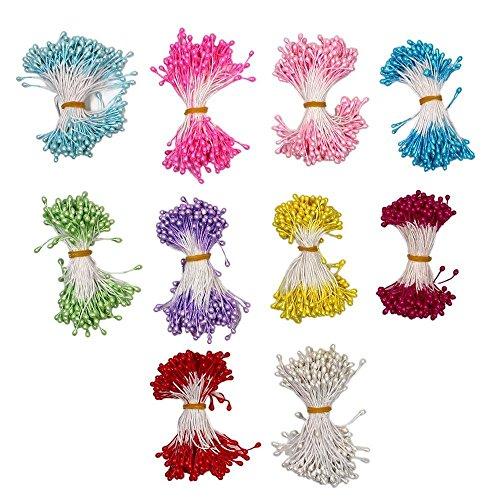 MMBOX 10warm Farben staments 3mm Perle künstliche Blume staubblättern, 1700Stück gemischt