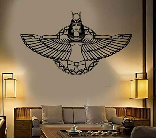 JXTK Vinyl Wandtattoo Alten Ägypten Königin Cleopatra Ägyptischen Flügel Aufkleber Schlafzimmer Wohnzimmer Dekoration Vinyl Kunstwand 74x42 cm - Die Königin-plakat