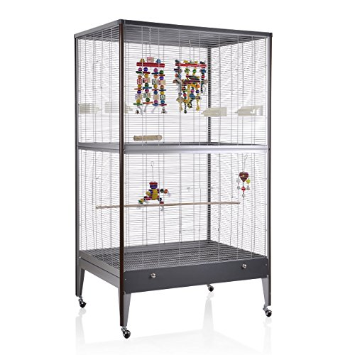 Montana Cages ® | Voliere, Käfig, Vogelvoliere Happy Home Antik-Platinum in Holzoptik 99B