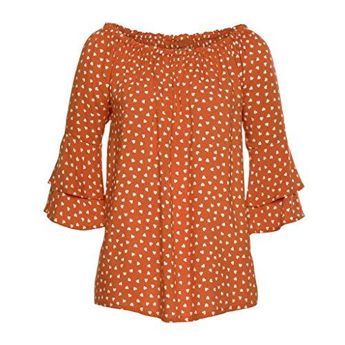 Damen-T-Shirt, Mit Langen ÄRmeln, Elastisch, Mit Offener Schulter Gr. Xx-Large, Orange