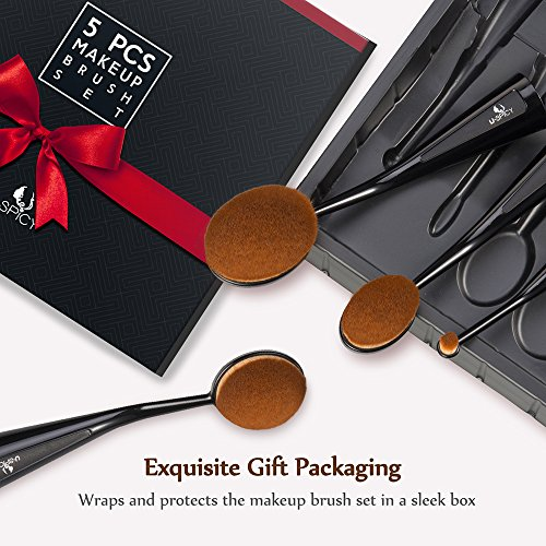 Makeup Brush Set USpicy 5 Professional Oval Makeup Brushes (Refined Gift Box, Cruelty Free, Soft Synthetic Fiber, Free Standing)