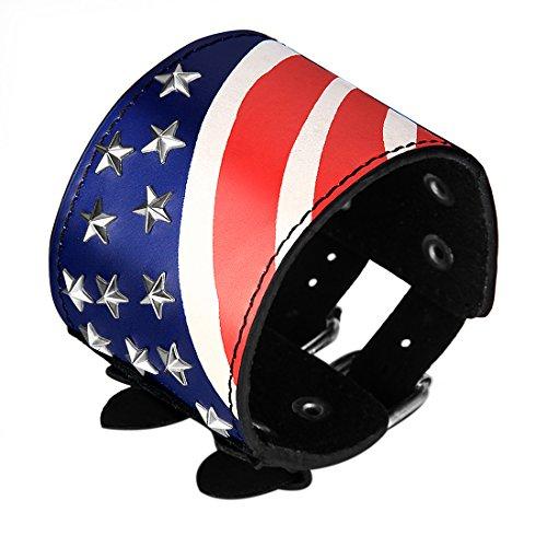 JewelryWe Schmuck Schwarz Lederarmband USA Amerika Vereinigte Staaten Flagge Leder Armband Partnerarmband Armreif 25,5cm
