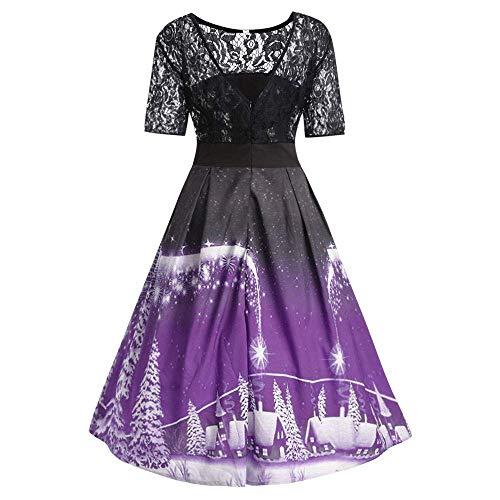6-WUTOLUOHANS Robe De Noël Femmes Arbres De Neige Imprimé Dentelle Splicing Party Vintage Robe T Shirt Robes Femmes (Color : Violet, Taille : M)