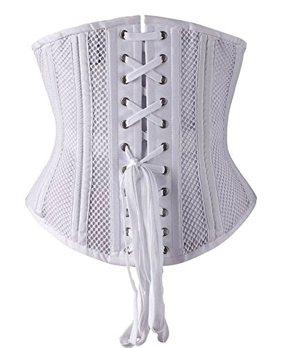 Accede Atmungsaktives Korsett / Taillentrainer, fördert das Schwitzen, Bauch-Weg-Effekt Weiß