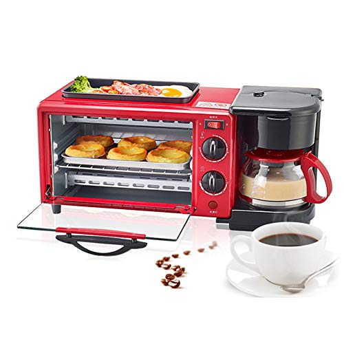 WooBrit 3 in 1 Multifunktional Frühstücksofen Mini-Backöfen Mini-Ofen, Backöfen + Krümelblech + - Pizzaofen Rot
