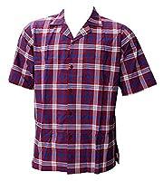 Pocket Front Luau Party Caribbean Camp Hawaiian Shirt Mens Checks Red L Gift Spring Summer 2017
