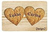 Fußmatte für Verliebte und Familie, mit Holzherzen-Motiv mit Namen bedruckt (2, Hellbraun)