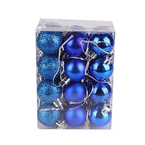 Jaminy 24 Stück Weihnachten Weihnachtsbaum Ball Flitter hängende Home Party Ornament Dekor 30mm (Blau)