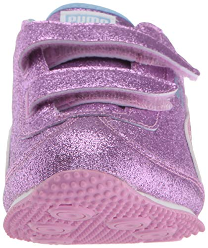 PUMA Baby Whirlwind Glitz Velcro Sneaker  Orchid-Cerulean White  7 M US Toddler
