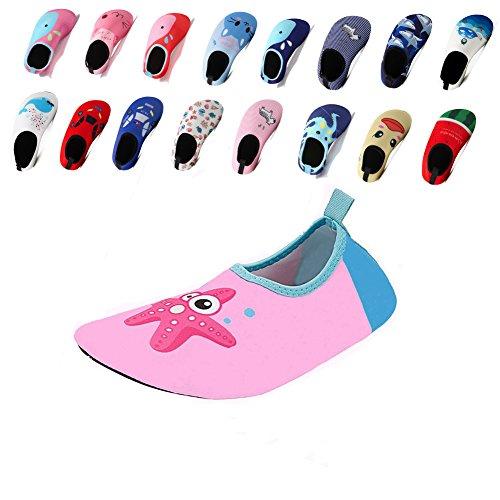 Laiwodun Kleinkind Schuhe Schwimmen Wasser Schuhe Mädchen Barefoot Aqua Schuhe für Beach Pool Surfen Yoga Unisex (7-34-35)