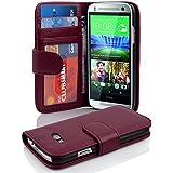 Cadorabo - Book Style Hülle für HTC ONE MINI (2.Gen. M8) - Case Cover Schutzhülle Etui mit 3 Kartenfächern in BORDEAUX-LILA
