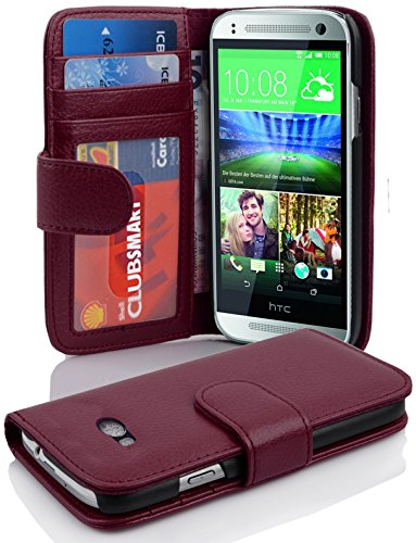 Cadorabo Hülle für HTC One M8 Mini (2.Gen.) Hülle in Handyhülle mit 3 Kartenfächern Case Cover Schutzhülle Etui Tasche Book Klapp Style Bordeaux Lila (Htc One Mini 2 Case)