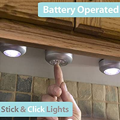 4 Pack Stick on LED Round Light - Wireless Ready To Use Light - inexpensive UK light store.