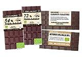 Edelmond Milchschokoladen Set mit hohem Kakaoanteil. Aus fair-trade Bio-Kakaobohnen - 4 gewalzte Tafeln aus bestem Edelkakao