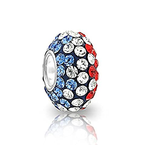 Perle Charm rond bleu avec bleu blanc rouge cristal Cœur en argent sterling 925pour Pandora Charms Perles Bracelet