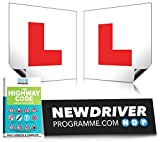 Picture Of New Driver Programme Fully Magnetic L Plates with FREE Highway Code eBrochure | Extra Thick Strong Magnetic Learner Plates Guaranteed To Not Fly Off At High Speeds, 2 Pack