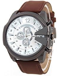 Reloj de pulsera - V6 Reloj de pulsera de cuero de imitacion de esfera para hombres(correa marron y caja blanca)