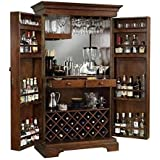 SS Wood Furniture Pre-Assemble Wooden Bar Cabinet with Wine Glass Storage (Brown, 90x50x180cm)