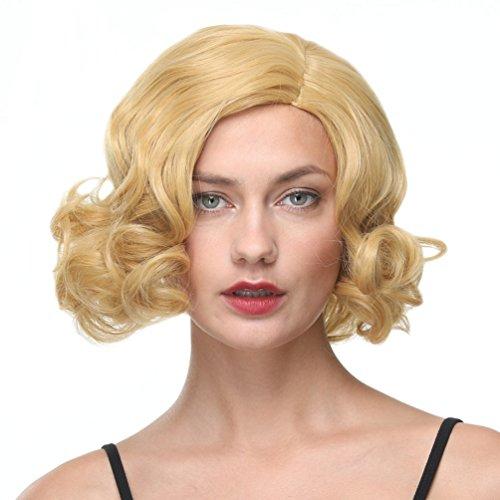 Corto ondulado BOB pelucas parte lateral Popular estilo Gold Color Platinum peluca para mujeres 12 pulgadas sintéticas Kanekalon extensiones 1 mes de garantía (144)