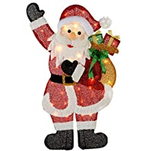 WeRChristmas Pre-Lit Santa Silhouette with 35 Warm White Lights and Tinsel, 82 cm - Large