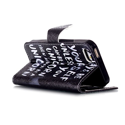 iPhone SE Hülle,iPhone 5S Hülle,iPhone 5 Hülle, iPhone SE / 5S / 5 Hülle Ledertasche Brieftasche handyhülle im BookStyle, SainCat PU Leder Wallet Case Folio Schutzhülle Gemalt Muster Hülle Bumper Hand Englisch Alphabet