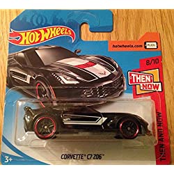 Hot Wheels 2018 Corvette C7 Z06 Black 8/10 Then and Now 48/365 (Short Card)