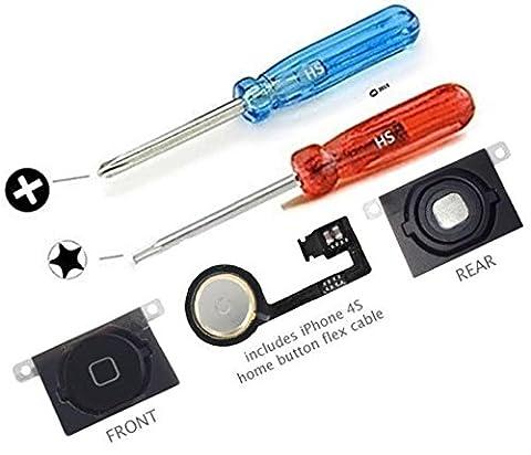 Bouton Home de rechange pour iPhone 4S NOIR avec connecteur nappe et bouton Home plastique - MMOBIEL