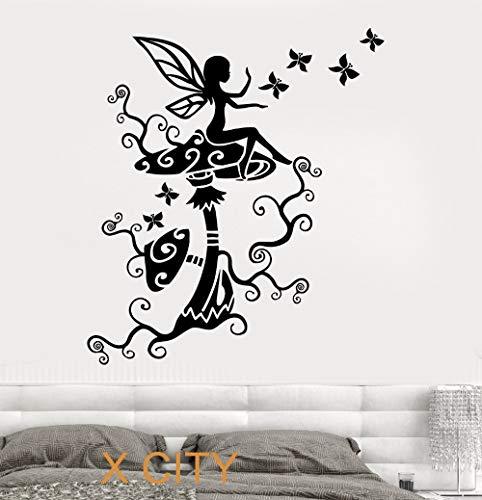 (Süße Fee auf die Pilze für Kinder Kinder Schlafzimmer Wandkunst Aufkleber Aufkleber abnehmbare Vinyl Transfer Schablone Wandbild Home Decor 56 * 79cm)