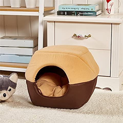 Weare Home Soft Yurt kennel Washable Dog Warm Bed with Cushion Brown L
